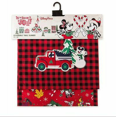 Disney Parks Mickey's Yuletide Christmas Holiday Reversible Table Runner New