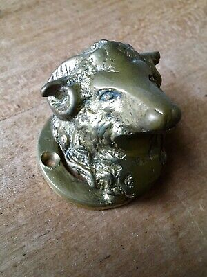 Vintage Brass Door Knocker Ram Sheep Small Antique