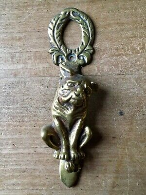 Vintage Brass Door Knocker Bulldog Animal Small Antique