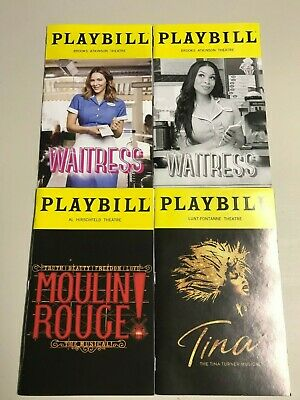 Playbills, Waitress (2), Tina Turner, Moulin Rouge, (Any 5 Playbills for $25)