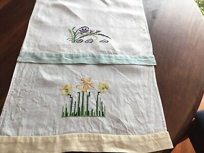 Crossstitch Linen Hand Towels Pair