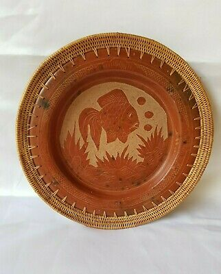 African Hand Made Decorative Clay Plate W/Drawn Fish & Woven Basket Rimmed Edge