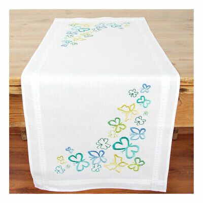 Vervaco Embroidery Kit Table Runner | Butterflies in Green on White | 40 x 100cm