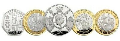 2020 Annual Coins, King George III £5,VE Day ,Agatha Christie,Mayflower, Team Gb
