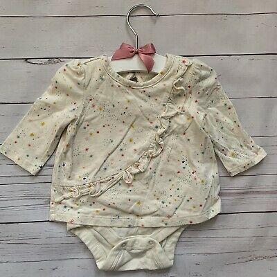 Baby Girls 0-3 Months - Long Sleeved T-shirt Vest - GAP Cream Star Ruffle Top