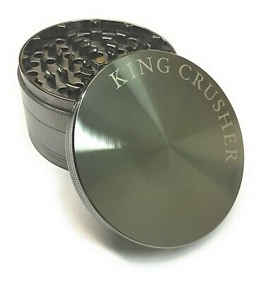 King Crusher Big 4 Inch 4 Piece Tobacco Herb Spice Alloy Smoke Grinder US Seller