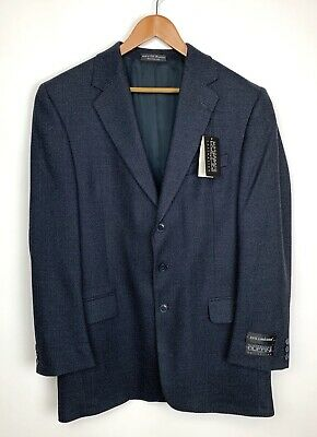 NEW Gianfranco Ruffini Lambs Wool Sport Coat 42L Blazer Blue Black Jacket