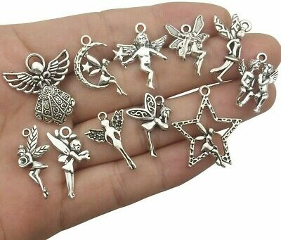 10 Angel Charms Antique Silver Tone SC924