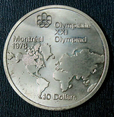 Canada 1973 10 Dollars Olympic Montreal 1976 World Map. Silver coin UNC