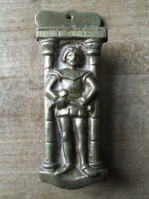 Vintage Brass Door Knocker Knight Guard Figure Small Antique