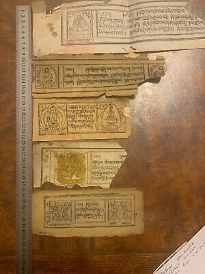 ANTIQUE TIBET-MONGOLIAN BUDDHIST WOODBLOCK SUTRAS LEAVE with PICTURE.