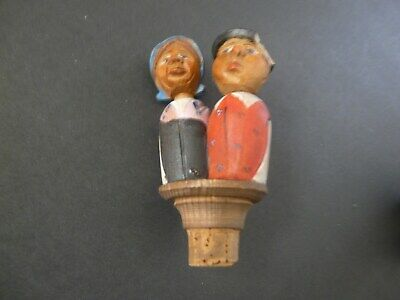 Vintage Folk Carved Wooden Bottle Stopper Mr, & Mrs. Farmer (Broken Hat Brim)