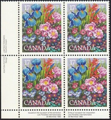 = GARDEN - FLOWERS - Iris, Aster - Canada 1980 MNH-VF #855 LL Block of 4, q01