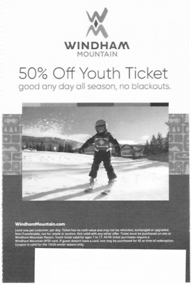 Windham Mountain 50% Off Youth Ticket, Good Any Day, No Blackouts