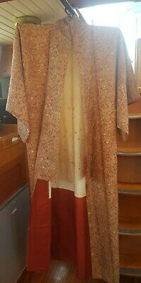 Fab Red & Gold Patterned Vintage Japanese Full Length Kimono