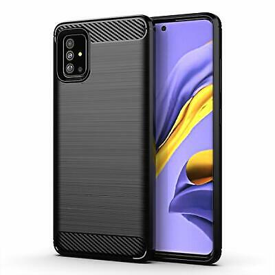 For New Samsung Galaxy A51 A71 Carbon Design Protective TPU Back Cover Case