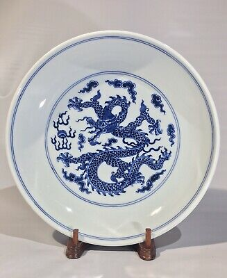 Qianlong Antique Qing Dynasty Blue & White Plate Imperial Dragon Dish 18th c.