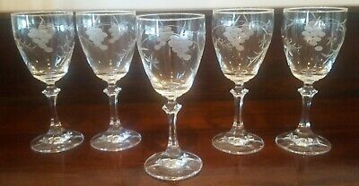 5 Vintage Wine Glasses Crystal Etched Grapes And Foliage 220mls