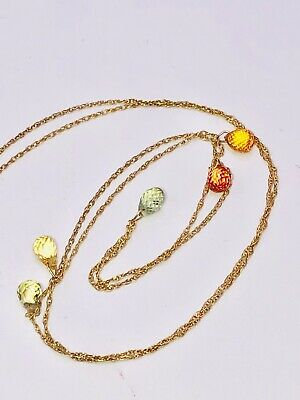 14k Yellow Gold Multi-colored Sapphire Necklace Abstract Transitional