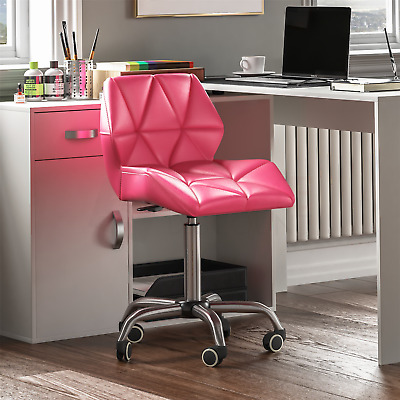 Computer Office Chair Cushioned Home Swivel Leather Small Adjustable Desk Pink