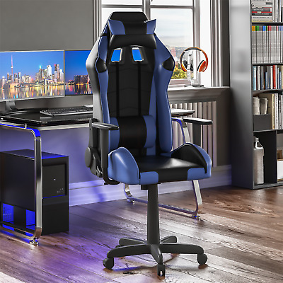 Racing Gaming Office Chair Executive Home Swivel Recliner Leather Blue Black