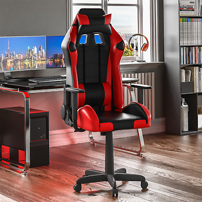 Racing Gaming Office Chair Executive Home Swivel Recliner Leather Red Black