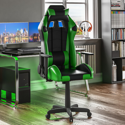 Racing Gaming Office Chair Executive Home Swivel Recliner Leather Green Black