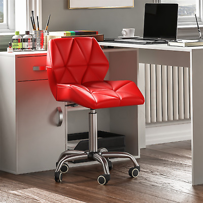 Computer Office Chair Cushioned Home Swivel Leather Small Adjustable Desk Red