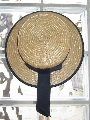 LAURA ASHLEY VINTAGE CHILD'S STRAW BOATER SUMMER HAT WITH NAVY RIBBON, One Size
