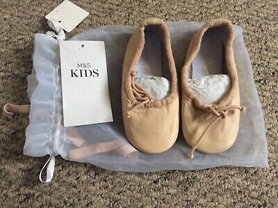 M&S Kids Size 7 (24 EUR) Girls Pink Ballet Slippers Shoes BNWT (D2)