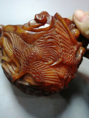"4.92""Folk Collect exquisite Ox horn Hand-carved crane longevity god Ox horn bowl"