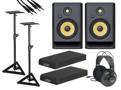 """KRK 7"""" Studio Monitors with Headphones, Stands, Isolation Pads, and Cables"""
