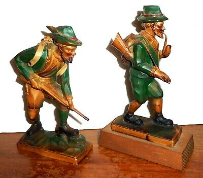 Carved Wood Hunters Figurines, Black Forest Germany Style