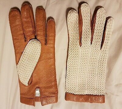 Leather gloves vintage with woven cotton back size small men's, medium ladies