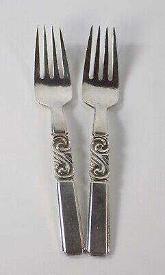 Georg Jensen Sterling Place Forks Hammered Scroll Pattern 7"