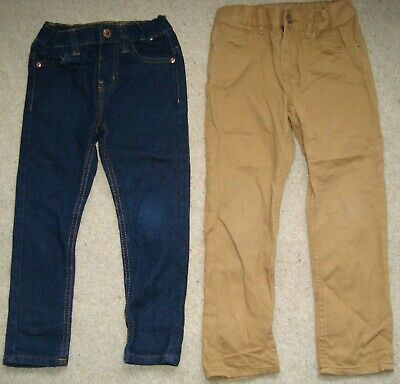 2x Boy's H&M/DENIM CO. Jeans 3-4-5 Yrs Skinny Khaki Pants Chino Bundle