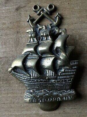 Vintage Brass Door Knocker Westward Sailboat Ship Nautical Small Antique
