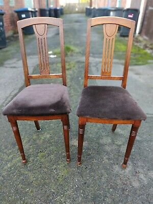 Arts and Crafts Art Nouveau Oak Dining Chairs