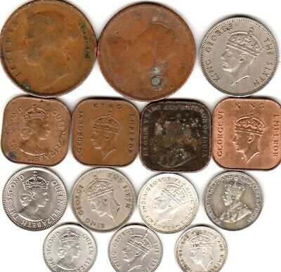 14 different world coins from BRITISH MALAYA some silver