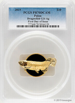 2019 $10 Palau Dragonfish 2oz Silver Coin PCGS PR70 First Day of Issue