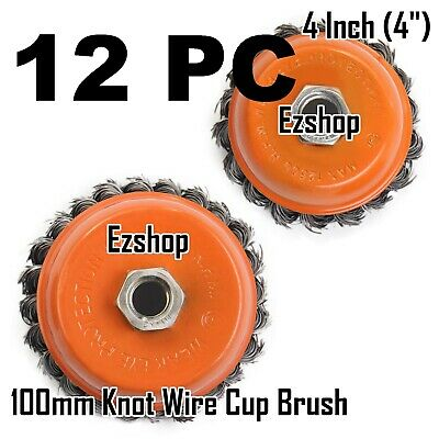 """12 Wire Cup Brush Wheel 4"""" (100mm) for 4-1/2"""" (115mm) Angle Grinder Twist Knot"""