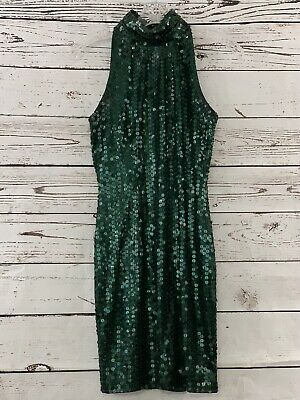 "Niteline Della Roufogali Green Beaded Sequined  Dress 30"" chest"
