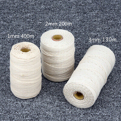 1/2/3mm Natural Beige Cotton Twisted Cord Rope Artisan Macrame String DIY Craft