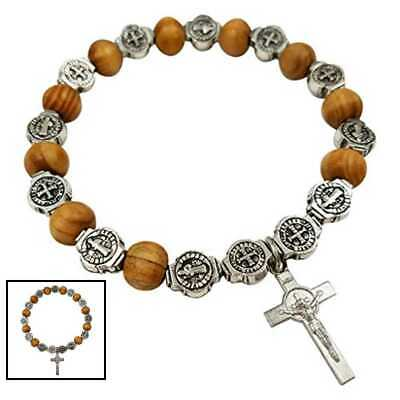 Catholic Rosary Bracelet Saint St Benedict Medal Crucifix Wood Bea BROWN Silver