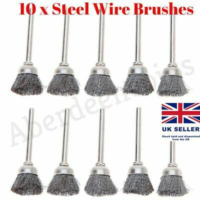10 x 3mm Rotary Steel Wire Wheel Brush Cup Tool Rust Weld Dremel Rotary Drill
