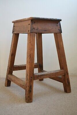 Antique Victorian Pine Industrial Workshop Stool, Lab Stool, Artists Stool