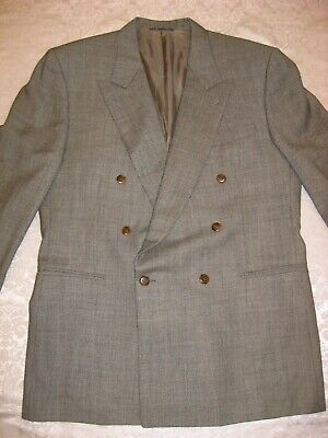 Canali Proposta Men's ITALY Wool Double Breasted Jacket Blazer Gray BLACK, Sz 44