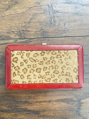 Red Brown Leopard Print Genuine Leather & Fur Wallet Womens Long Clutch