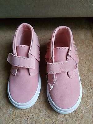 Girls Toddler Size 8.5 Vans Trainer Shoes, Pink Suede With Tassels Round Top