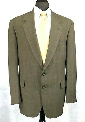 Nordstrom mens olive taupe lighter weight wool glen check suit 42L to 44L